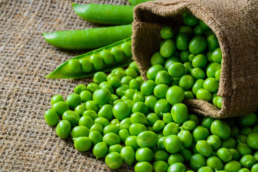 gezonde verse groene erwten en peulen op rustieke stof achtergrond