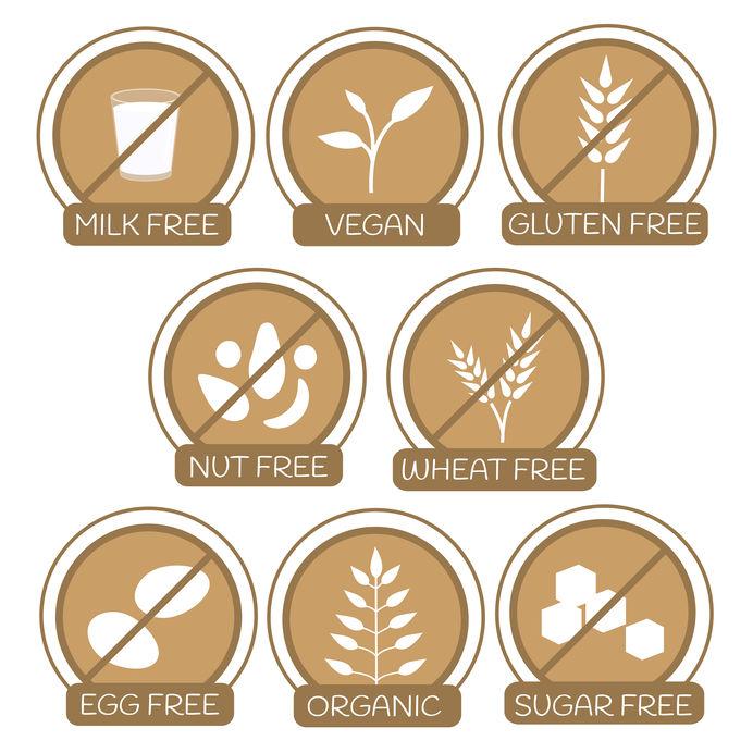 Allergenen gratis producten pictogrammen.