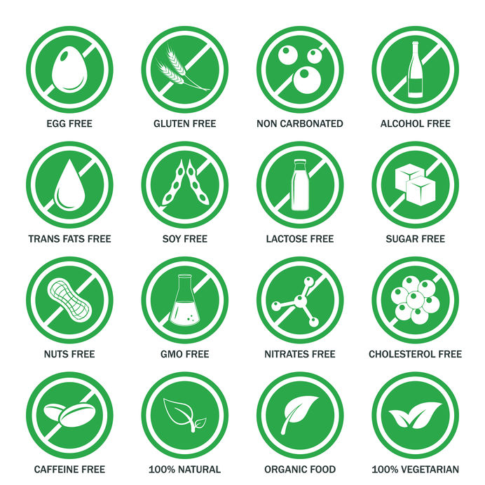 Allergeen iconen vector set.