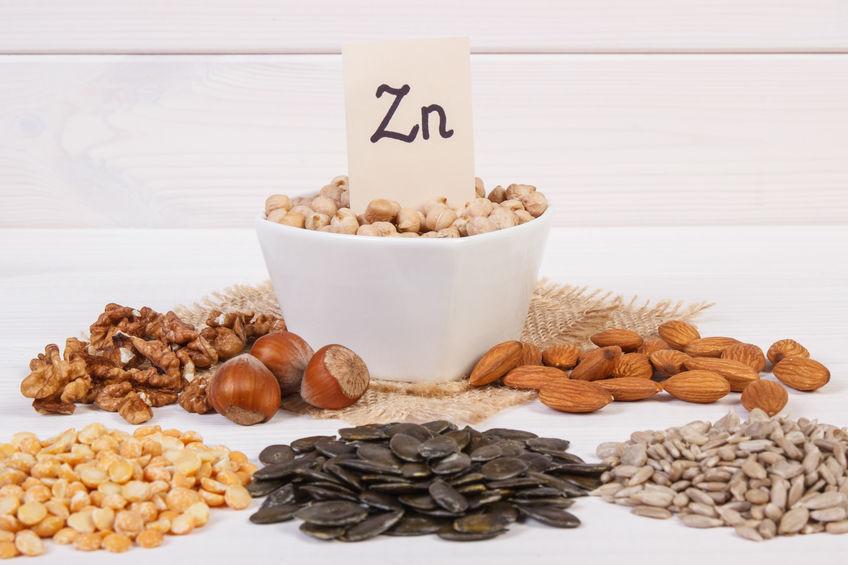 Producten en ingrediënten die zink en voedingsvezels bevatten, gezonde voeding
