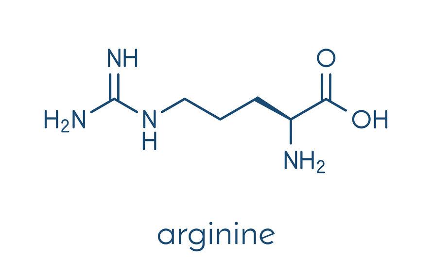 arginine (l-arginine, arg, r) aminozuurmolecuul. skelet formule.