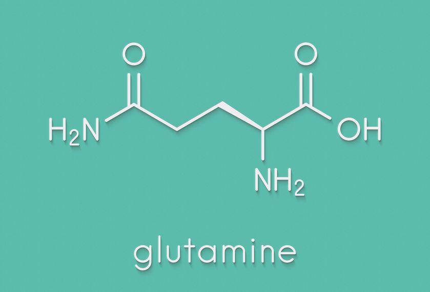 Glutamine (l-glutamine, Gin, Q) aminozuurmolecuul. Skeletal fo
