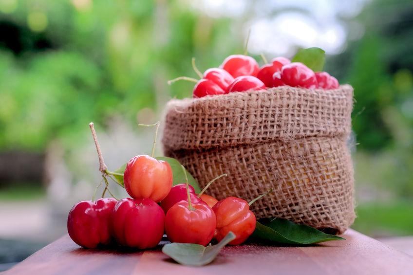 Acerola-fruit dichte omhooggaand op achtergrond