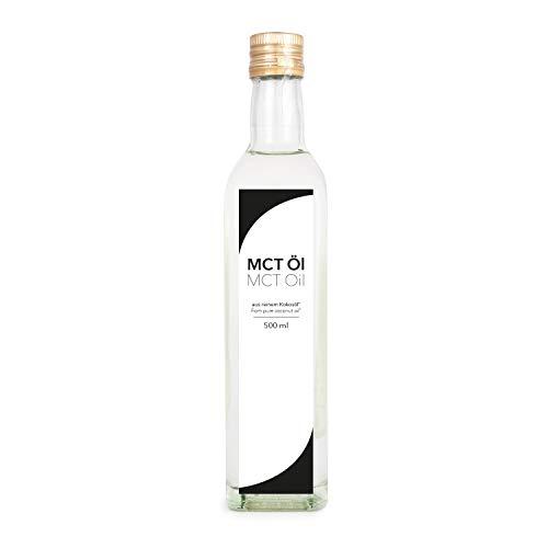 MCT olie, premium kwaliteit, op basis van kokosolie, per stuk verpakt (1 x 500 ml) in glazen fles