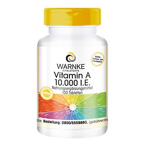 Vitamine A 10.000 I.E. - 3000µg retinol (retinylacetaat) per tablet - hoge dosering & veganistisch - 100 tabletten