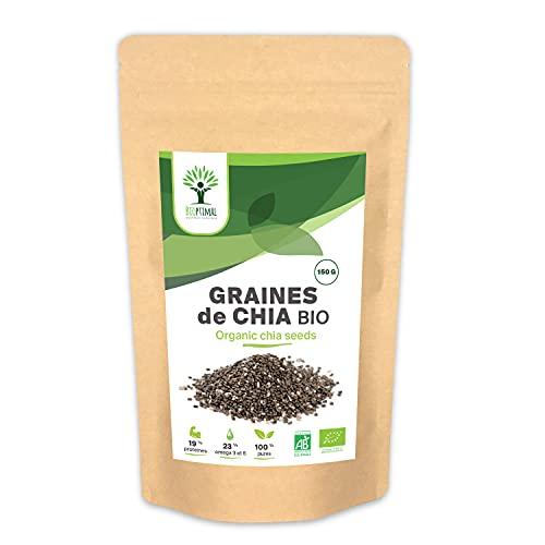 Bio Chia-zaden, Bioptimal, Superfoodent, Omega 3, calcium-eiwitten, spijsvertering, afslankheidsspijsvertering, 100% Chia Premium Crue, verpakt in Frankrijk, gecertificeerd door Ecocert – 150 g