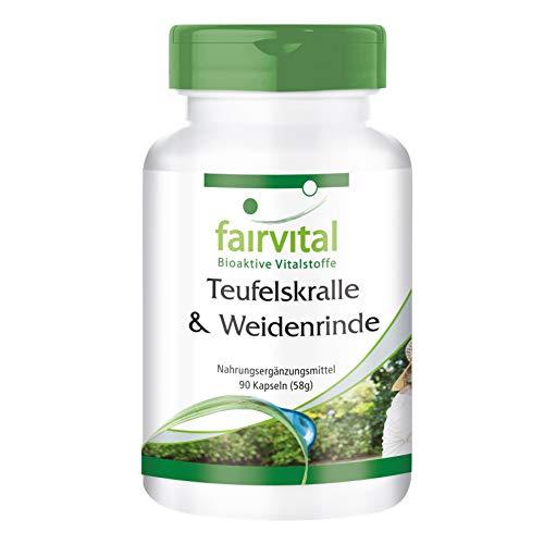 Duivelsklauw en wilgenschors capsules - HOOG GEDOSEERD - gestandaardiseerd op 1,2% harpagosiden en 15% salicine - VEGAN - Harpagophytum procumbens & Salix alba extract - 90 capsules