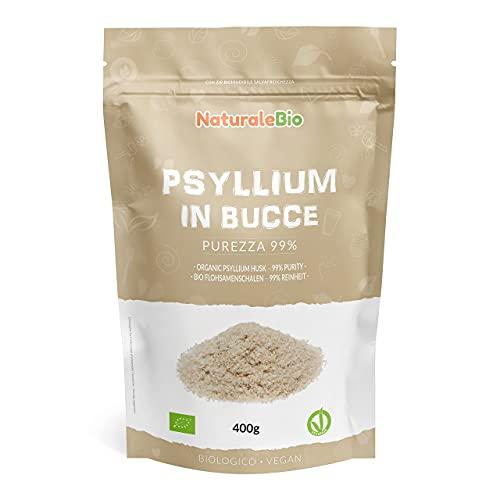 Biologische Psylliumschillen [zuiverheid 99%] 400 g. 100% Psyllium husk Bio, natuurlijk en zuiver. Geproduceerd in India. Rijk aan vezels, te consumeren in water, dranken of sappen. NaturaleBio