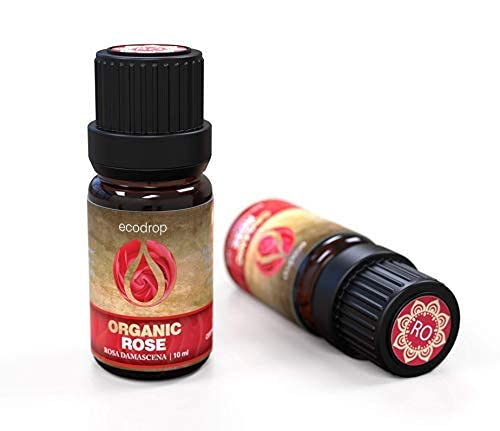 Etherische rozenolie, gecertificeerd als organisch, 100% zuiver, olie voor aromatherapie, massages, geurverspreiders & bad - 10 ml, inclusief gratis e-book (Rosa Damascena)
