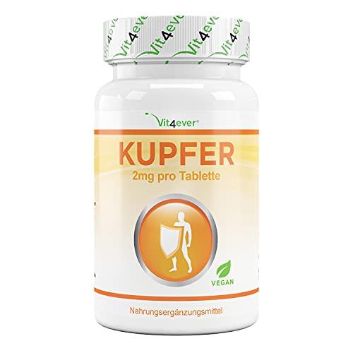 Koper - 365 tabletten met elk 2 mg - 1 jaarvoorraad - Hoge biologische beschikbaarheid - Kopergluconaat - Hooggedoseerd - Veganistisch - Zonder ongewenste toevoegingen