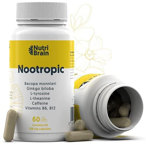 NOOTROPIC | Natuurlijk Pakket Xl 60 Capsules | Formule voor meer energie, concentratie en mentale flexibiliteit | Cafeïne, Ginko Biloba, Tyrosine, Theanine, Bacopa Monnieri en Vitaminen