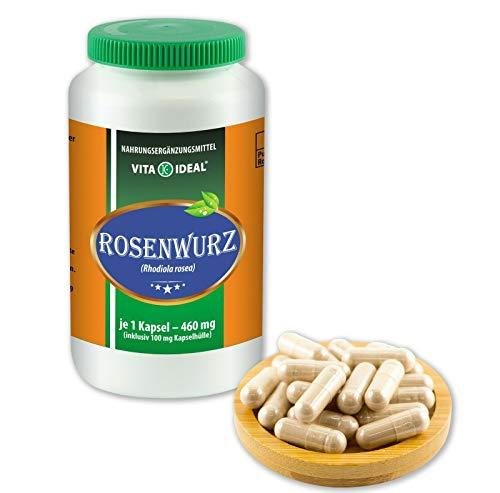Vitayideal ® Rozenwortel (gouden wortel, rhodiola rosea) 180 capsules elk 460 mg, van puur natuurlijke kruiden zonder additieven van NEZ-discounter