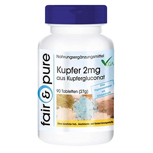 Koper tabletten 2mg - kopergluconaat - vegan - zonder magnesiumstearaat - 90 tabletten
