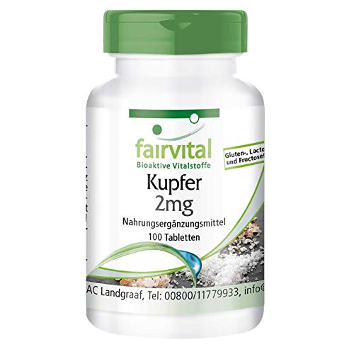 Koper tabletten 2mg - HOOG GEDOSEERD - koper bisglycinaat voedingssupplementen - VEGAN - 100 tabletten