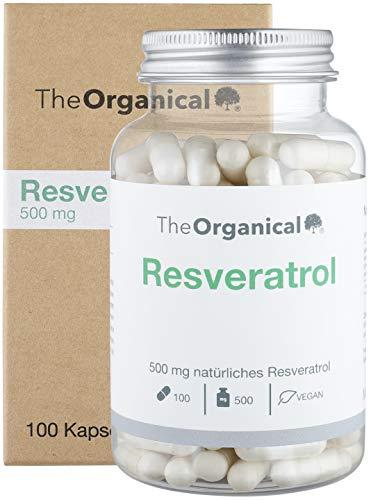 TheOrganical Trans Resveratrol capsules, 100 capsules met 500 mg premium reveratrol, gemaakt in Hamburg