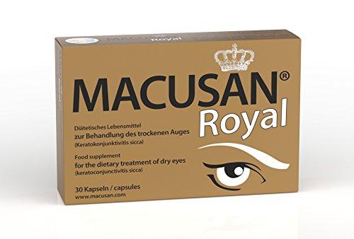 Macusan Royal tabletten voor droge ogen   Capsules voor de behandeling van droge ogen met luteïne, zeaxanthine, ginkgo biloba, omega 3, zink, vitamine C, vitamine E, selenium en koper   Gezonde ogen en gezond zichtvermogen