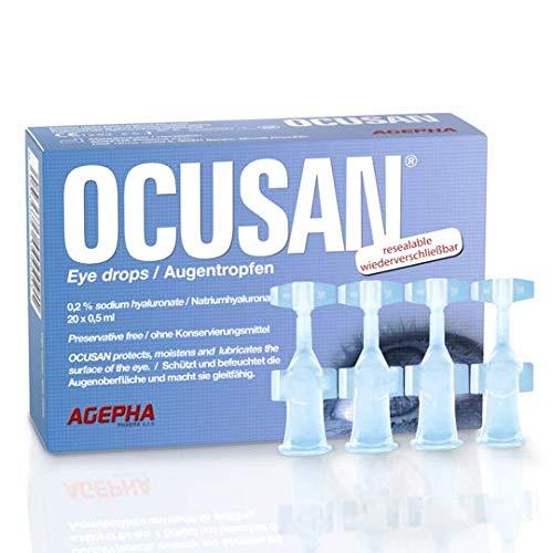Ocusan® oogdruppels in één enkele dosis | Oogdruppels voor droge ogen geschikt voor het gebruik met contactlenzen | Zonder bewaarmiddelen | Oogdruppels met hyaluronzuur en bevochtigende kunsttranen voor rode en jeukerige ogen.