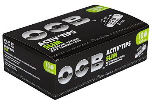 OCB ActivTips Slim 7 mm - actieve koolfilter met keramische kappen - 10 x 50 stuks