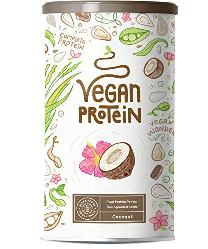 Vegan Protein - Kokos - Plantaardige proteinen van gekiemde rijst, erwten, lijnzaad, amaranth, zonnebloempitten, pompoenzaad - 600 g poeder met natuurlijke kokos smaak