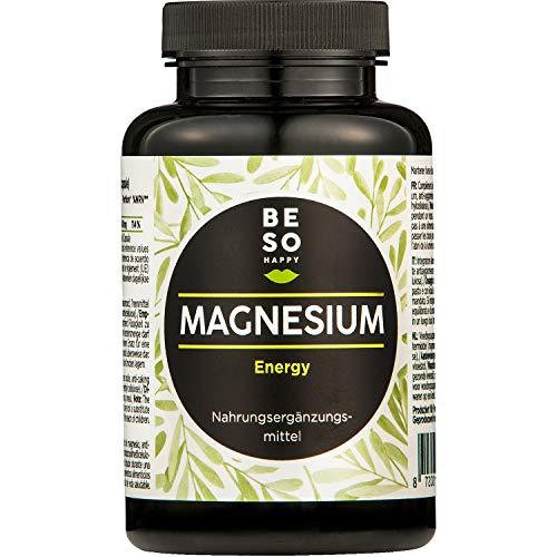 BeSoHappy® Magnesium Energy l 180 hooggedoseerde capsules voor 6 maanden l met zeer effectief magnesium - geproduceerd, in laboratorium geanalyseerd en getest in Duitsland