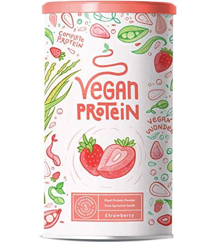 Vegan Protein - Aardbei - Plantaardige proteinen van gekiemde rijst, erwten, lijnzaad, amaranth, zonnebloempitten, pompoenzaad - 600 g poeder met natuurlijke Aardbei smaak