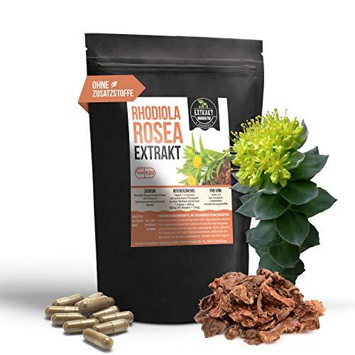 Rhodiola Rosea Extract | 3% Rosavinn | 120 capsules - 400 mg rozenwortel | zonder additieven en laboratorium getest | hoge dosis, 100% veganistisch & geproduceerd in Duitsland (capsules 120)
