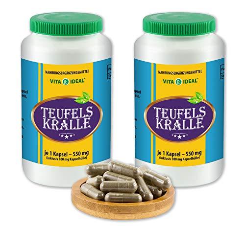 Vitayideal ® duivelsklauw wortel (Harpagophytum procumbens, Devil's Claw) 2 x 360 capsules van 550 mg, van puur natuurlijke kruiden, zonder additieven van NEZ-discounter