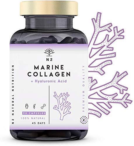 Hydrolysed Marine Collagen Supplement Pills.Hyaluronic Acid Magnesium Vitamin C. Anti-Aging. Skin Joints Bone Hair Nails Care. BEST COLLAGEN PEPTAN. 90 Vegetable Capsules EC. N2 Natural Nutrition