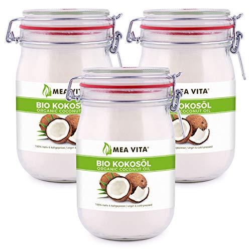 MeaVita Bio kokosolie, eerste set, 3 stuks (3 x 1000 ml) in beugelglas