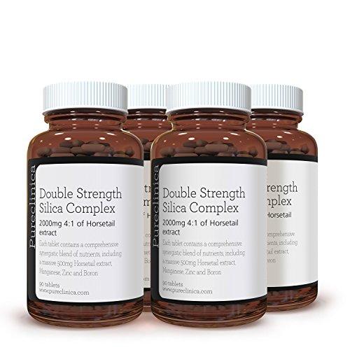 Silica Complex met Dubbele Sterkte – 12 maanden voorraad! (500mg Heermoes extract x 90 tabletten) SKU: SIL90x4