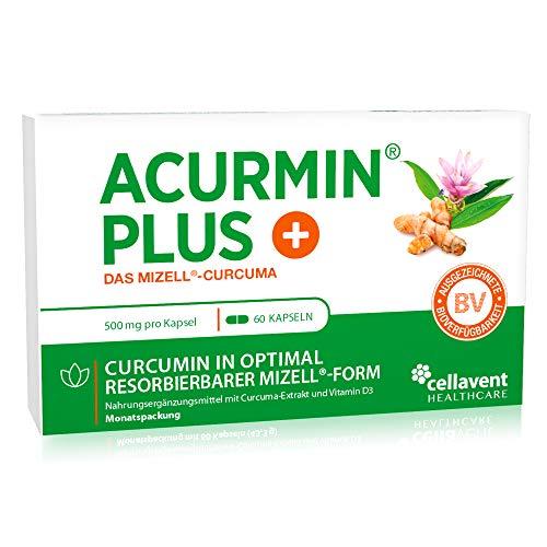 Kurkuma-capsules hoge dosering Acurmin PLUS - micellaire curcumine C14 gecertificeerd - zonder peper, piperine, 60 capsules