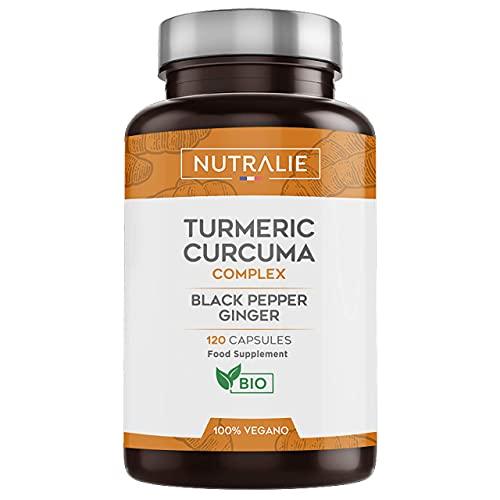 Kurkuma Biologisch 100% Natuurlijk   Optimale Combinatie van Kurkuma en Zwarte Peper   120 Vegan Capsules met Hoge Absorptie van Curcumine, Gember en Piperine   Nutralie