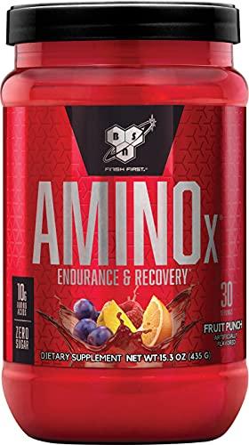 BSN Amino X BCAA poeder, suikervrije aminozuren complex hoge dosis met vitamine D, vitamine B6, arginine, taurine en alanine, fruitpunch, 30 porties, 435 g