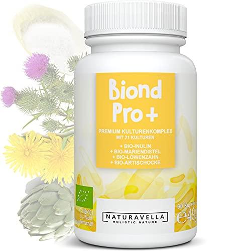 BiondPro+® Premium culturen complex van experts met 21 bacteriestammen, biologische inuline en biologische kruiden   darmflora   sterk gedoseerd, veganistisch & laboratorium getest, 90 capsules