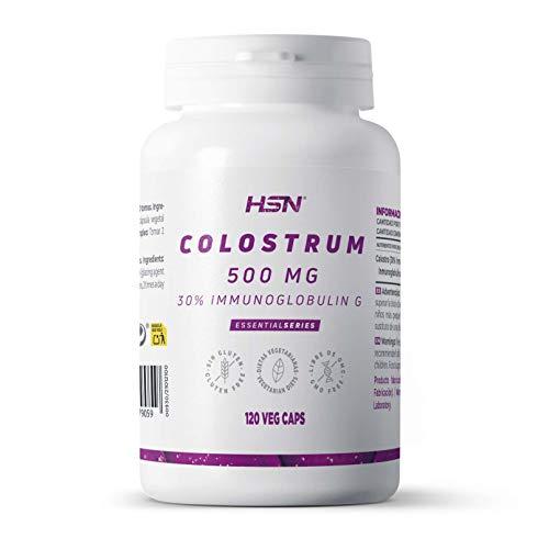 Colostrum van HSN   500mg   Met 30% Immunoglobuline G   Om het immuunsysteem en de prebiotische functie te versterken   Glutenvrij, Vegetarisch Geschikt - 120 capsules