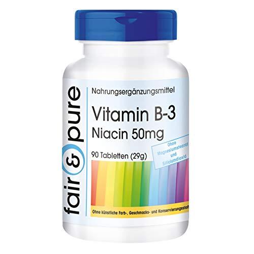 Vitamine B3 tabletten - Niacine 50mg als nicotinamide - flush free - vegan - zonder magnesiumstearaat - 90 niacine tabletten