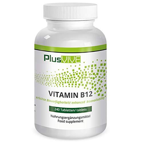 Plusvive hoge dosis vitamine B12-tabletten met verbeterde bioverbrengbaarheid, 240 tabletten