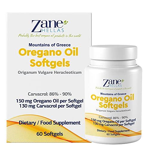 Zane Hellas Oregano Oil Softgels. De hoogste concentratie ter wereld. Elke softgel bevat 25% pure Griekse oregano-olie. 108 mg carvacrol per softgel. 60 capsules