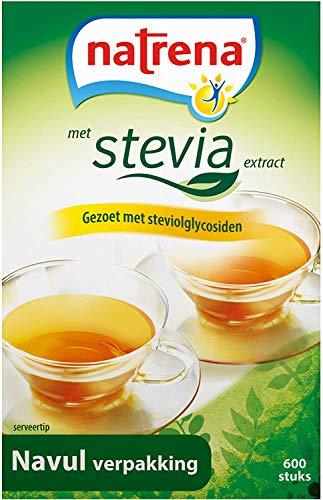 Natrena Zoetstof met Stevia Navulverpakking voor Tafeldispenser en Zakdispenser, 6 x 600 Zoetjes
