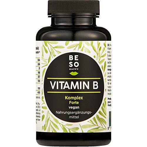 BeSoHappy® Vitamine B Complex Forte (180 capsules voor 6 maanden) - Geanalyseerd in laboratorium en getest in Duitsland l met vitamines B12, B1, B2, B3, B4, B5, B6, biotine, foliumzuur l veganistisch, glutenvrij en lactosevrij