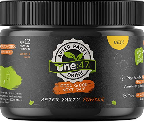 one:47 ® After Party Drink | 180 g zuiver borduurpoeder | Feel Good Next Day | Elektrolyte als hersteldrank met vitamine C, vitamine B1 + B2 + B6, magnesium, zink | met gember, acerola en cactusvijg